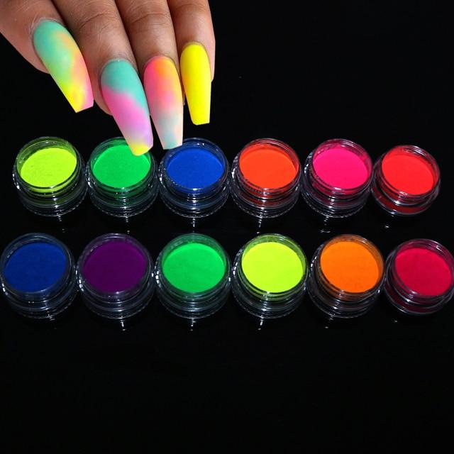 Neon Pigment Powder Fluorescent Nail Glitter Set Shinny Ombre Chrome Dust DIY Gel Polish Manicure For Nails Art Decoration 2
