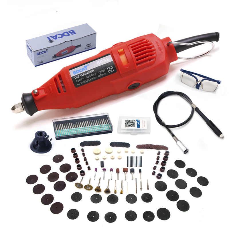 BDCAT, 180w, herramienta rotativa de grabado eléctrico Dremel, Mini pulidora de velocidad Variable, con 180 piezas de accesorios de herramientas eléctricas