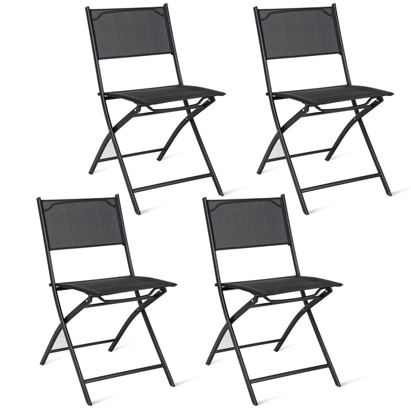 Set of 4 Outdoor Camping Deck Garden Folding Chairs Powder Coated Steel Frame Modern High Quality Outdoor Chairs HW58805