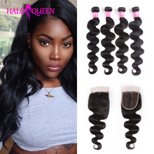HALOQUEEN 4 Bundles With Closure 100% Human Hair Malaysian Body Wave Bundles Natural Black Non Remy Hair Extensions(China)