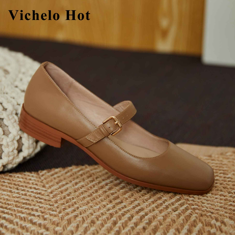 Vichelo Hot simple style full grain leather gorgeous square toe low square heel buckle straps leisure handmade women pumps L99