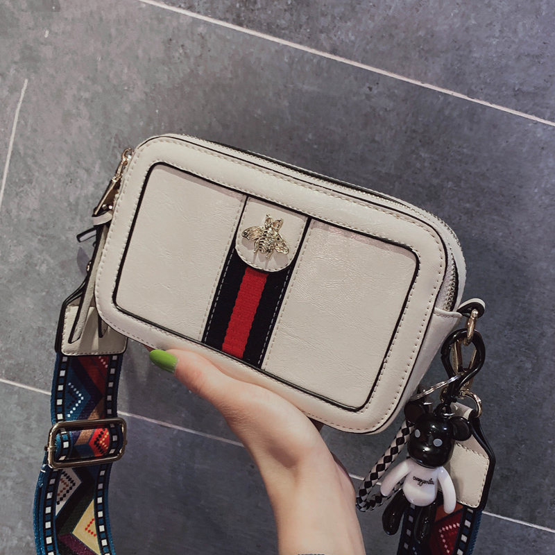 Women's Bag Bee Appliques Flap Bag For Girl Female PU Leather Messenger Bag Crossbody Bags Women Animal Print Package Fashion
