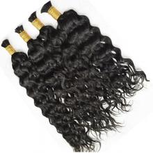 Human-Hair Braiding Remy-Bulk Deep-Wave 24inch Malaysian for 4pcs No-weft-10/To/24inch/Remy-bulk