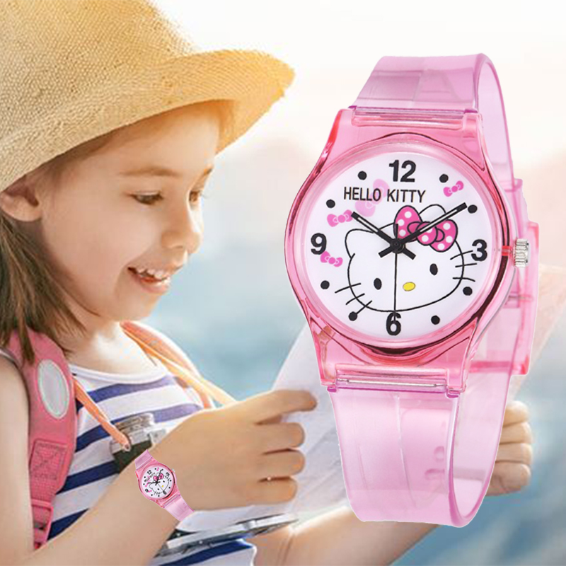 Hello Kitty 30M Waterproof Children Watch Casual Transparent Kids Watch Jelly Girls Watch Boys Wrist Watches Clock Relogio