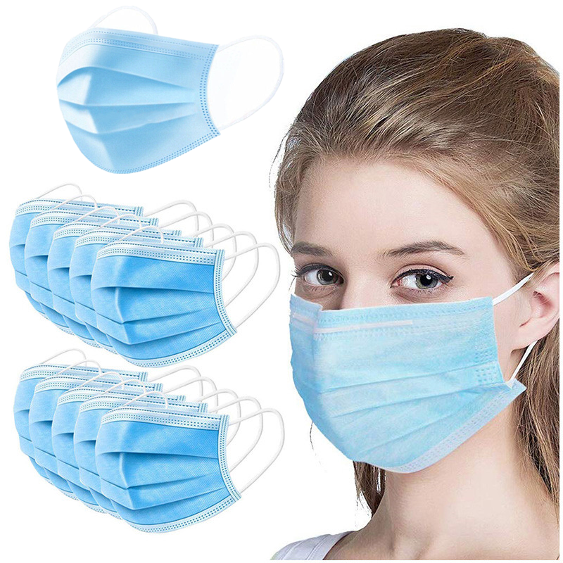 2/10/50/100/200/500Pcs Disposable Mask 3 Layers Earloops Masks Breathing Safety Face Mouth Masks Non-woven Blue Face Mask