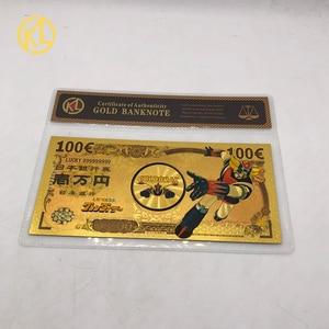 1 pièce ovni Robot Grendizer Goldorak Anime 100 EUR souvenir or billet de banque billet d'or Note avec cadre COA pour les billets de Collection