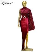 Burgundy Simple One Shoulder Evening Dress Long Sleeve Evening Party Gowns Slit Left Celebrity Prom Dresses 2020 Robe De Soiree