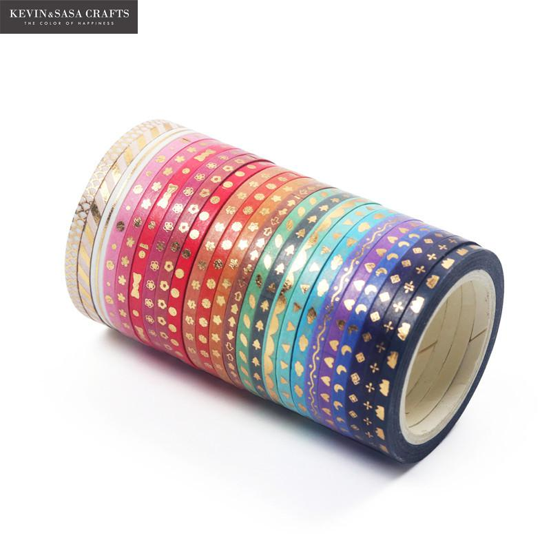 24Rolls/Set Foil Slim Washi Tape Diy Decoration Scrapbooking Planner 3mm*5m Masking Tape Adhesive Tape Label Sticker Stationery