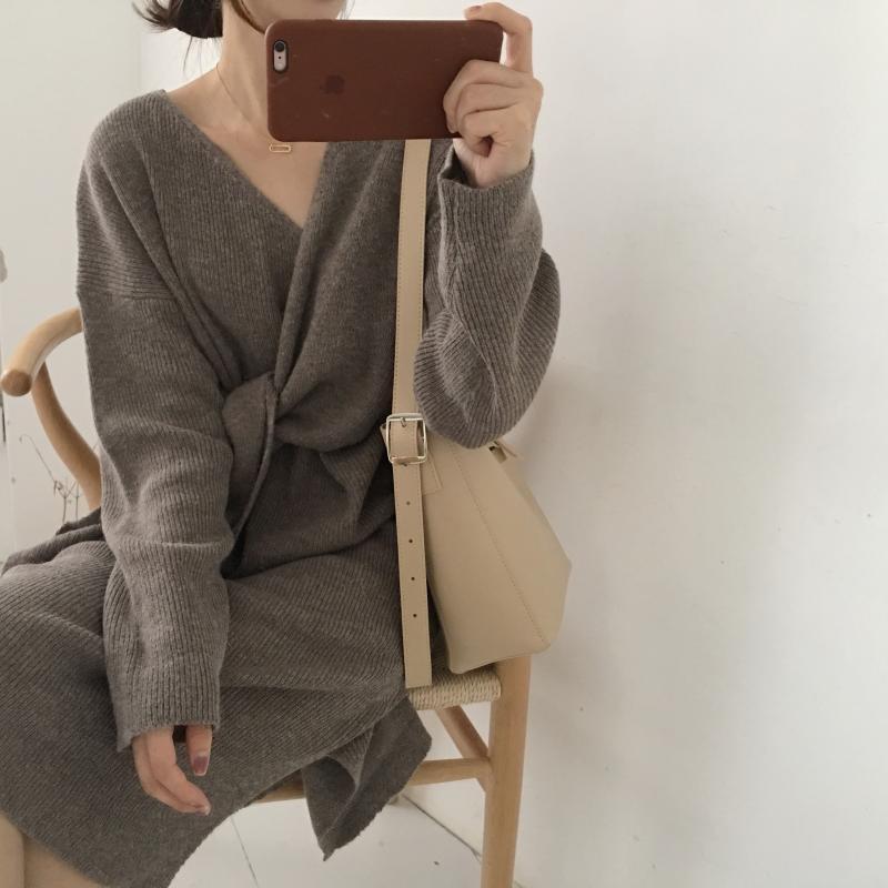 H16789350856a478787e8242b581062c2c - Winter Korean V-Neck Long Sleeves Knitted Dress