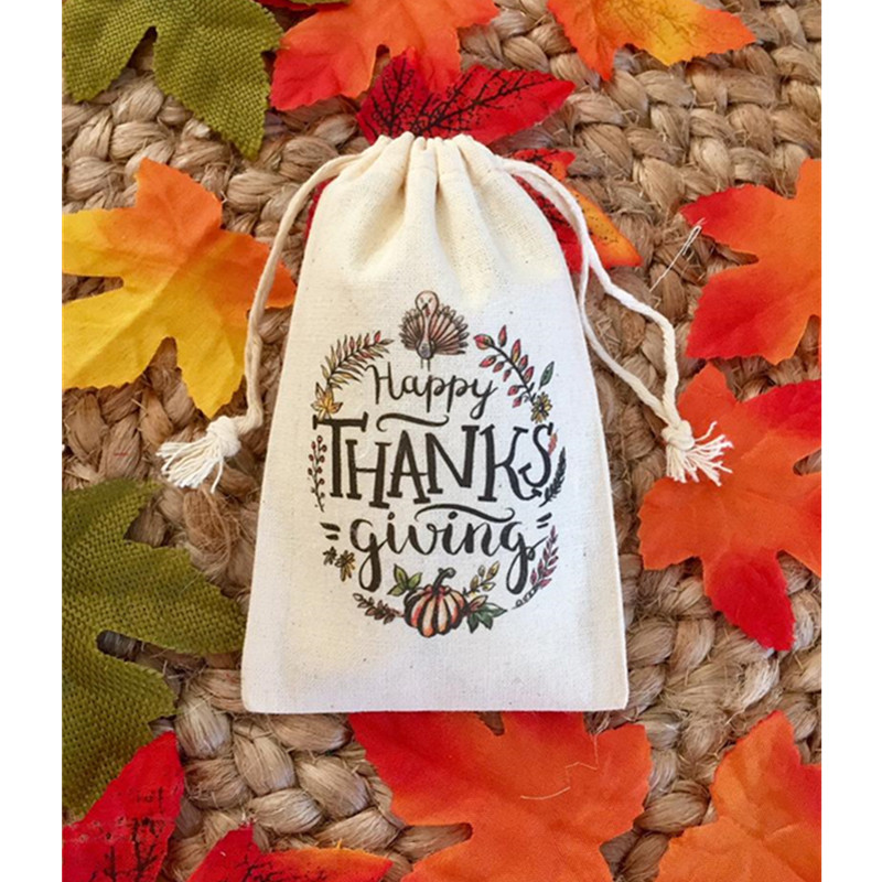 Thanksgiving Favor Bag 10pcs Personalize Thank You Gift Bag Treat Bags Birthday Gift Welcome Muslin Bag Hen Party Bag Bridal Bag