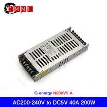 Free Shipping G-energy Slim N200V5-A Slim LED Display Power Supply AC 200-240V to DC5V 40A 200W 220V AC Input Voltage