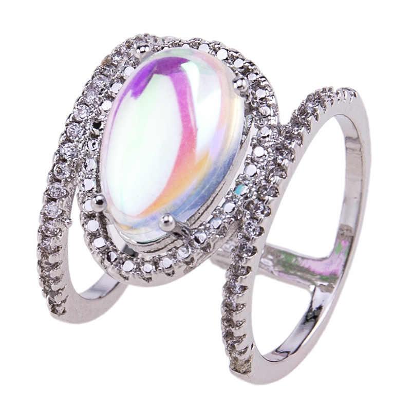 W nowym stylu kamienie księżycowe eleganckie H kształt pierścień na cały palec dla kobiet moda damska biżuteria