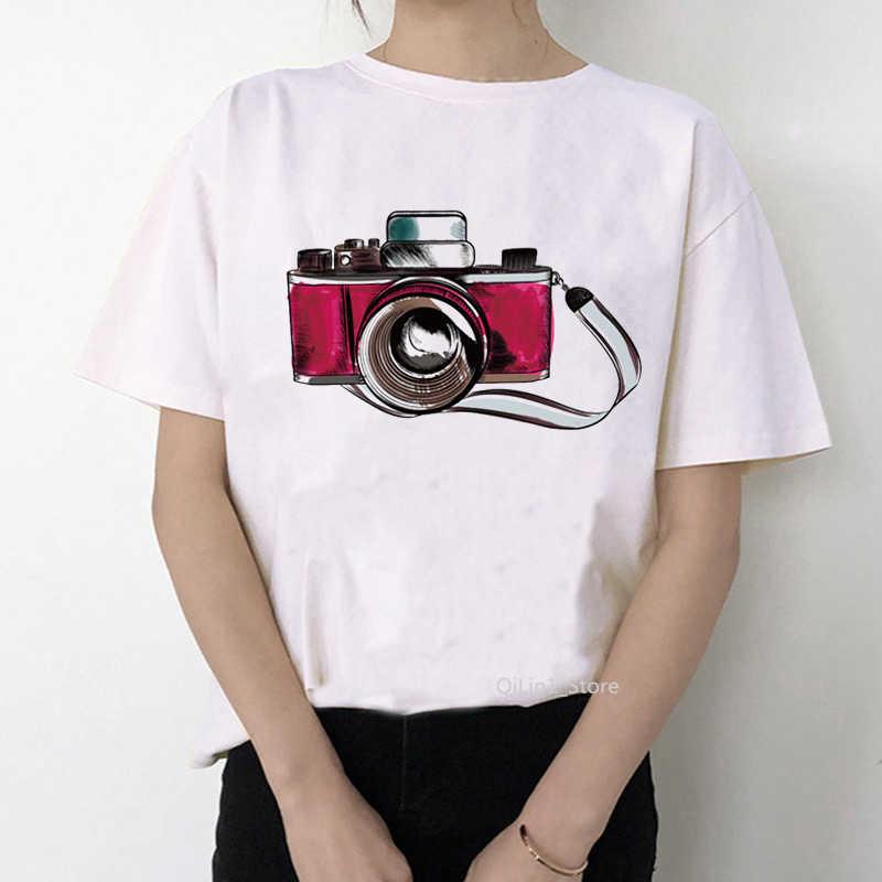 Retro macchina fotografica di t-shirt femminile acquerello fiori camera stampato vintage tee shirt femme bianco t shirt graphic maglietta delle parti superiori dei vestiti
