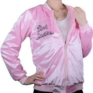 Image 3 - 1950s Pink Ladies Jacket Women Girls Long Sleeve Pleuche Lightweight Bomber Jacket Grease Movie Halloween Family Costumes