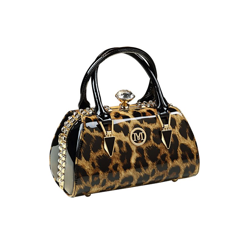New Luxury Small Leopard Boston Messenger Bags for Women Leather Handbags Patent Leather Shoulder Clutch Top Handle Bag Evening
