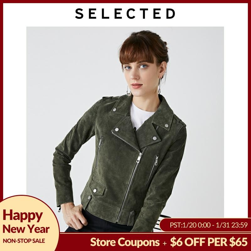 SELECTED Women's Autumn Leather Motorcycle Jacket S|419310504