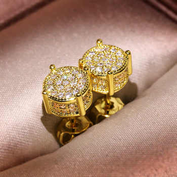 Bling Zircon Stone Gold Silver Round Stud Earrings for Man Women Hip Hop Fashion Jewelry 2019 New