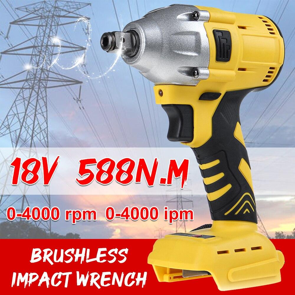 18V Recarregável Elétrico Brushless Chave de Impacto Sem Fio 1/2 Chaves de Soquete Ferramenta Sem Fio de Energia Elétrica sem a Bateria