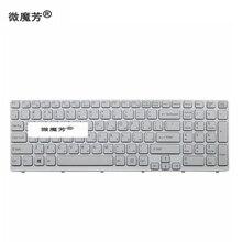 Nuevo para for SONY VAIO E15 SVE 15 SVE15 149032851RU AEHK57002303A MP 11K73SU 920 teclado RU ruso blanco con marco