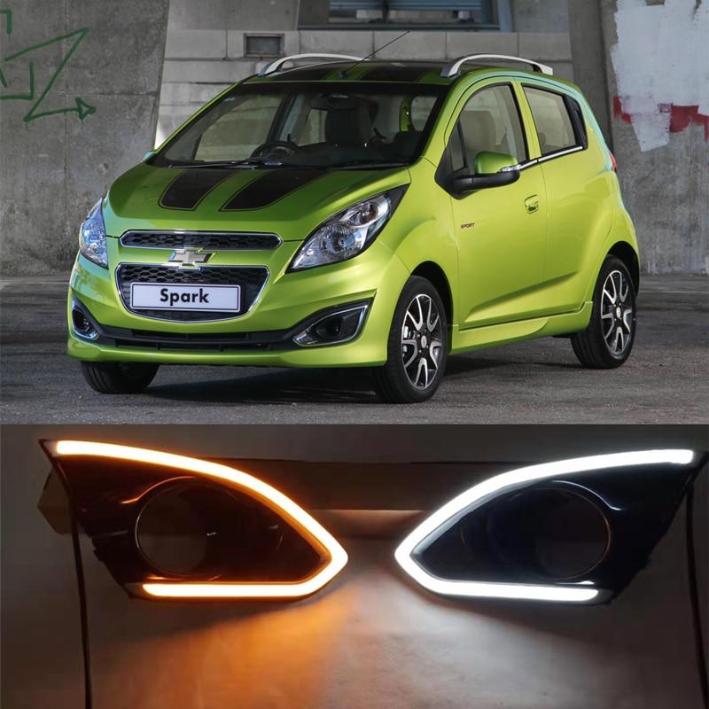 LED Daylight For Chevrolet Spark 2013 2014 2015 Daytime Running Light With Yellow Siganls Fog Light