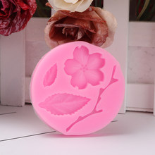 Şeftali çiçeği çiçek kek kalıbı çiçek yaprak şube Fondan dekoratif kalıp DIY silikon kek çikolata pasta Bakeware kalıp aracı