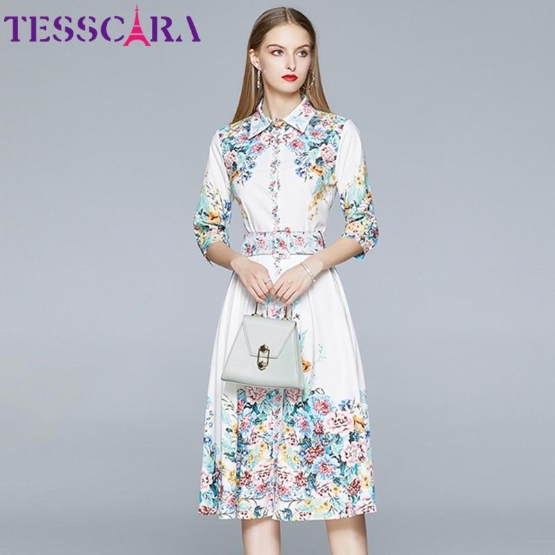 TESSCARA женское летнее элегантное платье, рубашка высокого качества, винтажные офисные вечерние платья, Femme, цветочный дизайн, повседневные пл...