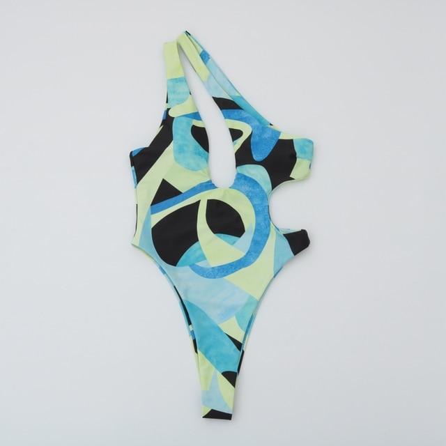 One Piece Swimsuit Swimwear Women Print One Shoulder Bodysuit Push Up Monokini Brazilian Bathing Suit Summer Beachwear