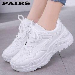 Новинка 2019 года; белые женские кроссовки; Модные женские кроссовки на толстой платформе; Повседневная обувь; Zapatos De Mujer; кроссовки на массивн...