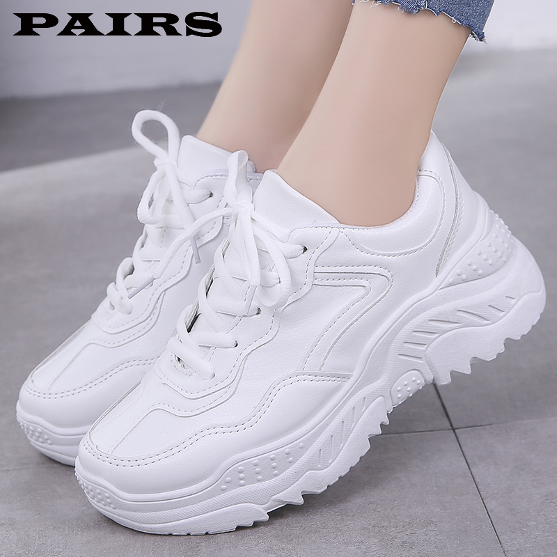 2019 New White Women Sneakers Fashion Thick Bottom Womens Platform Sneakers Casual Shoes Zapatos De Mujer Chunky Sneakers