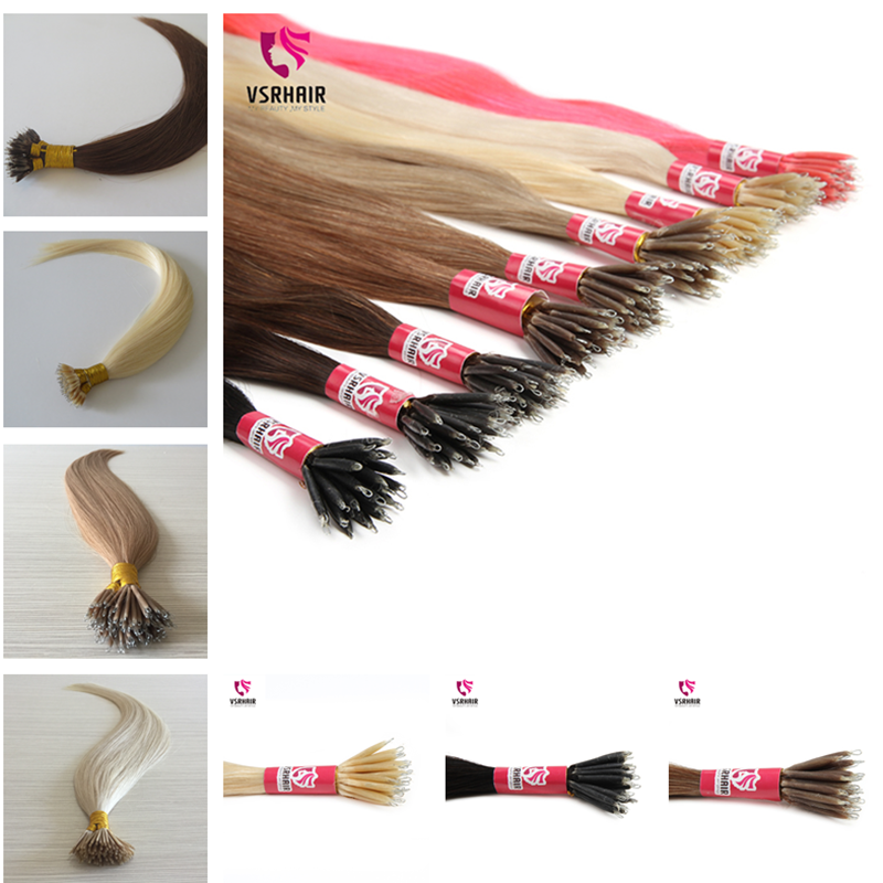 VSR Machine Remy Hair Pre Bonded Fusion Human Hair Extensions Hair Blonde Color 1g/s Micro Beads Nano Hair Extension