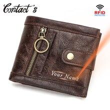 Kontakts Rifd portfel męski 100% prawdziwej skóry portmonetka z klamrą Bifold mężczyzna posiadacz karty portfele mała torba na kieszonkowe Carteira