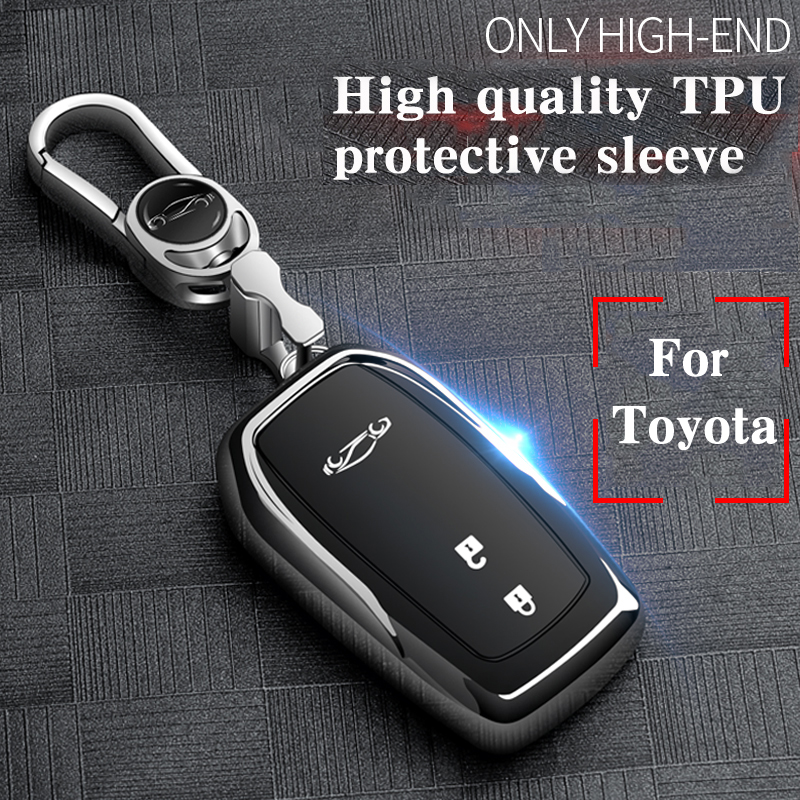 Hight quality TPU+ABS Car Key Cover Case for Toyota Camry Corolla Crown Dazzling Prado Raying Carola  2 3 Buttons Remote Keyless|Key Case for Car| |  - title=