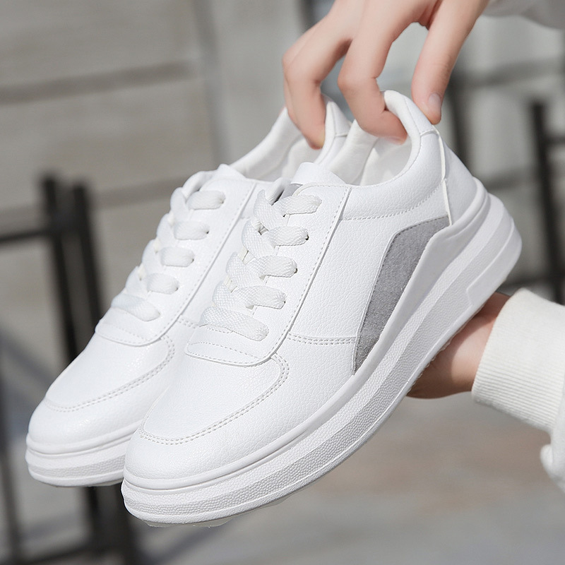 Women White Sneakers Chunky Heel Lady Platforms Basic Concise Style Pu Leather Waterproof Lace Up Spring Autumn Girl Sneakers