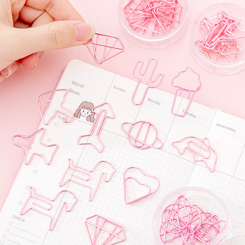 8 Pcs/lot Pink Creative Umbrella Metal Clip Student Bookmark Planner Paper Clip Material Escolar Bookmarks For Book Stationery