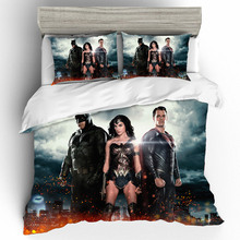 Wonder Woman Cotton Printing Bedding Set Queen King Size  Sets Duvet Cover Bed Sheets Pillowcases Linen Home Textile