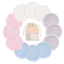 12pc reusável almofadas de algodão removedor de maquiagem almofadas lavável redondo bambu compõem almofadas de pano cuidados com a pele ferramenta de limpeza da pele