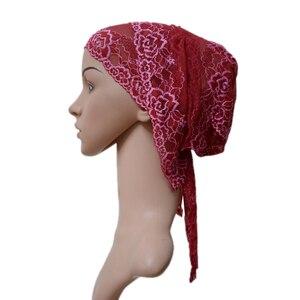 Image 5 - Turbante musulmán para mujer, gorro interior árabe de encaje, sombrero islámico para quimio, funda, gorro con flor, gorro para la caída del pelo, gorro de cola larga suave