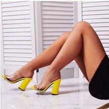 Сандалии женские на очень высоком каблуке флуоресцентные блестящие