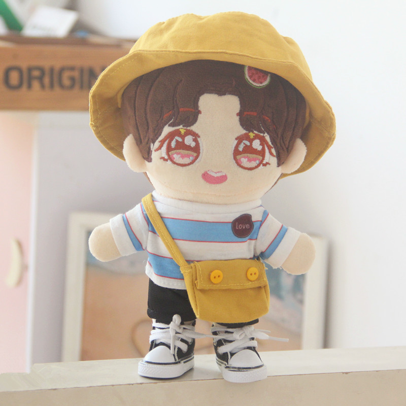 20cm Exo Star Doll Cute Fisherman Hat Aidou Accessories Wool Clothes Black Pants Hat Backpack Doll Clothes Doll Accessories