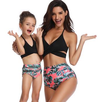Rodzinne stroje dziewczyna Bikini do pływania nosić kwiat dzieci markowe ciuchy stroje kąpielowe dla dzieci siostra brat pasujące dziewczyny stroje kąpielowe tanie i dobre opinie Shovkini POLIESTER spandex Akrylowe CN (pochodzenie) WOMEN swimsuit for woman girls child Dobrze pasuje do rozmiaru wybierz swój normalny rozmiar