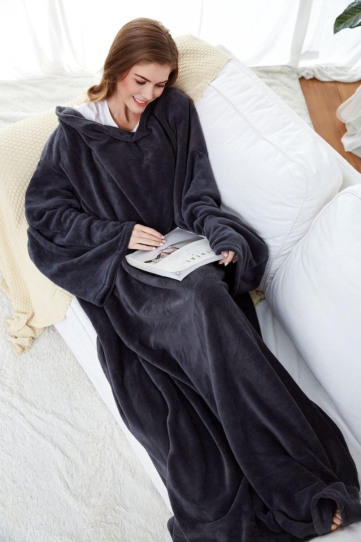 Long Fleece Blanket with Sleeves, Wearable Blanket Adult Cozy, Soft, Warm, Functional