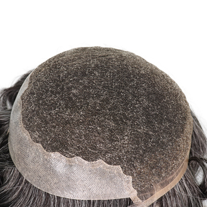 Image 5 - YY Wigs 1B 40% Grey Human Hair Men Toupee Swiss Lace & Thin PU Remy Hair Replacement System for Men 6 Inch Curl Human HairPiece