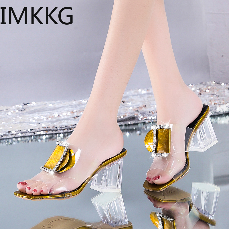 Clear Summer Sandals Women Shoes Woman Mules Metal Buckle Slides Peep Toe Transparent Square High Heels Female Shoes Y10272