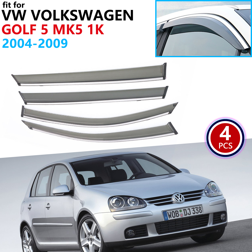 For VW Volkswagen Golf 5 MK5 1K 2004~2009 Window Visor Vent Awnings Rain Guard Deflector Shelters Car Accessories 2005 2006 2007