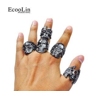 Image 3 - 100Pcs Fashion Mens Skull Skeleton Gothic Biker Rings Men Rock Punk Ring Party Favor Wholesale Jewelry Lots Top Quality LR4107