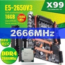 Atermiter X99 D4 DDR4 Motherboard Set mit Xeon E5 2650 V3 LGA2011 3 CPU 2 stücke X 8GB = 16GB 2666MHz DDR4 REG ECC RAM Speicher
