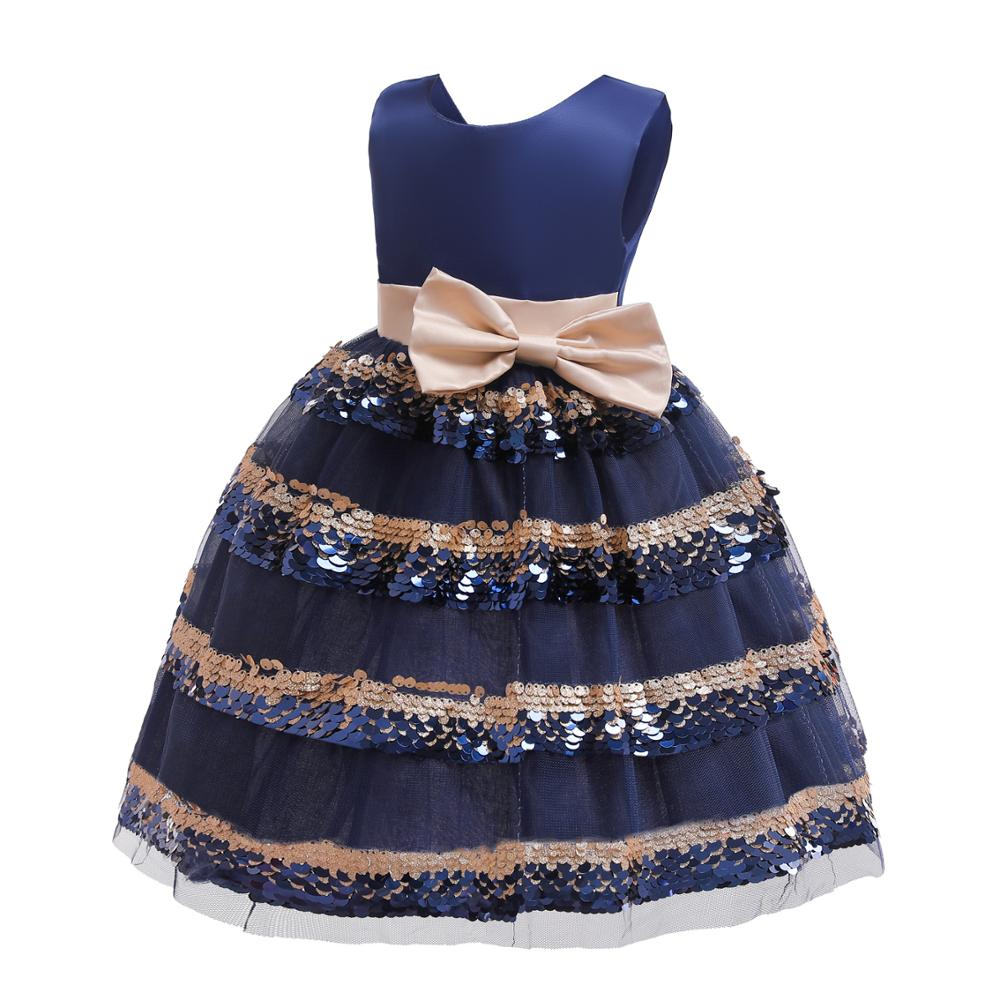 Little   Girl     Flower     Girl     Dresses   With Bow Belt Tiered Sequins Kids Ball Gown pageant   dresses   for   girls