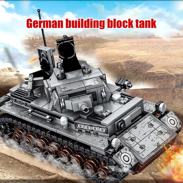 596PCS City Diy Military Building Blocks For  WW2 Steel Empire-German IV Tank Soldier Figures Bricks Toys For Children