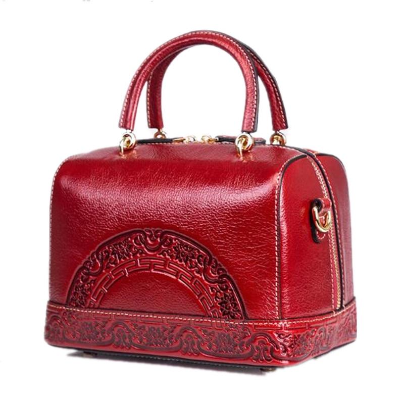 Small Crossbody Handbag For Women Genuine Leather Vintage Bag Ladies Messenger Bags Red Embossed Tote Purse Boston Shoulder Bag