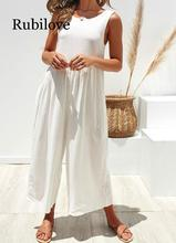 Rubilove Long Rompers Womens Jumpsuit 2019 White Elegant High Waisted Wide Leg Pants Female Backless Loose Overall